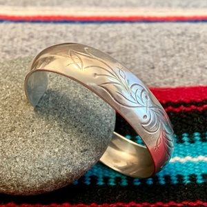 Sterling Botanical Cuff Bracelet